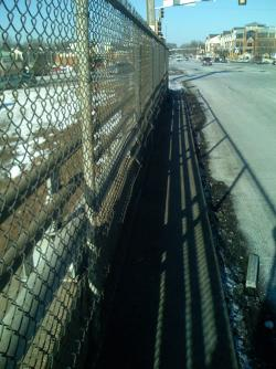 Lyndale Bridge over I-494, looking north toward Richifield - showing hazardous sidewalk conditions.