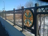 Central - Broadway bridge in Northeast Minneapolis showing German design element -looking east