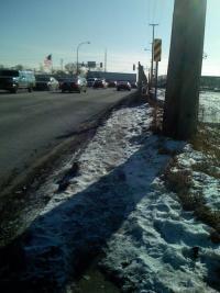 Lyndale Bridge over I-494, looking south toward Bloomington - showing hazardous sidewalk conditions.