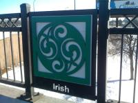 Central - Broadway bridge in Northeast Minneapolis showing Irish design element